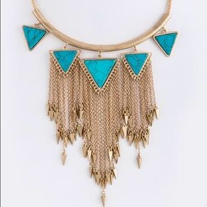Gold turquoise triangles tassels necklace new